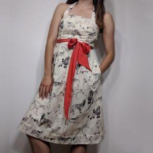 Anthropologie Maeve Dog Print Ivory Tea Dress